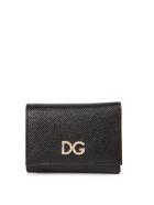 Dolce & Gabbana Black Leather Wallet With Logo In Diamonds - Black