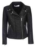 Bully Croco Zipped Leather Jacket - Black