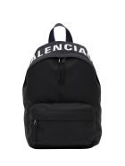 Balenciaga Wheel Logo Embroidered Nylon Backpack - Black