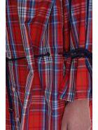 Sonia Rykiel Taffeta Tartan Shirt Dress - red