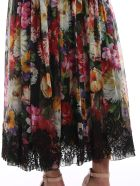 Dolce & Gabbana Dolce Gabbana Floral Print Skirt - Fiori Fdo Nero