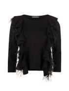 Alberta Ferretti Ostrich Feathers Sweater - black