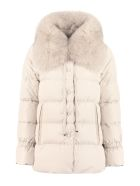 Add Fur Collar Down Jacket - Beige