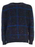 Drumohr Sweater W/buttons Check - Blue Bluette