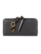 Chloé Logo Zip Around Wallet - Black