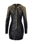 Balmain Short Ls Sequin Embrodery Dress - Ebn  Noir Or Arg.