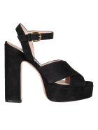 Stuart Weitzman Criss Cross Sandals - Black Suede