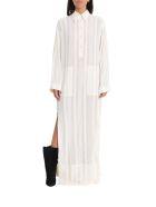 Philosophy di Lorenzo Serafini Long Dress With Shirt Collar And Slits - White