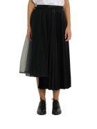 Noir Kei Ninomiya High-waist Asymmetric Pleated Satin Midi Skirt - Nero