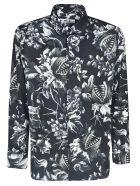 MSGM Tropical Print Shirt - Black White