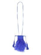 The Attico Clutch Bag Greta Con Piume - blue