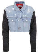 Givenchy Short Jacket In Denim And Quilted - Black Light Blue