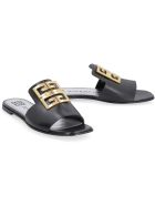 Givenchy Leather Slides With Logo - black