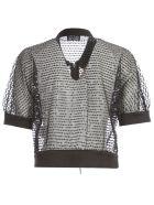 Emporio Armani Short Jacket S/s W/zip And Paillettes - Nero
