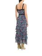 Saloni Lana Tiered Dress With Floral Motif - Multicolor