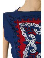 Valentino Short Blue Viscose Embroidery Logo Dress - Blue