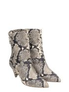 The Seller Python Print Leather Ankle Boots - Animalier