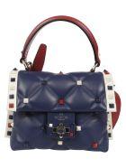 Valentino Candystud Shoulder Bag - Hrblue Ivory Red