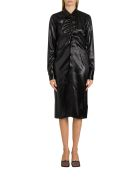 Bottega Veneta Satin Shirt Dress - Nero