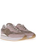 Crime london Pink Suede & Gold Mesh Sneakers - Gold/rose