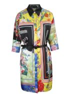 Versace Belted Baroque Dress - Multicolor