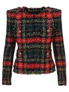 Balmain Tartan Tweed Blazer - BLACK CHECK