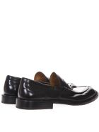 Green George Black Leather Loafer - Black