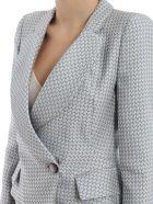 Giorgio Armani Fitted Blazer - L Grey/jacquard