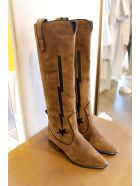 Kate Cate Low Heels Boots In Leather Color Suede - leather color