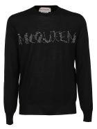 Alexander McQueen Crew Neck Lg Slv - Black Silver