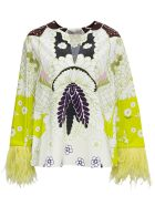 Valentino Cotton Poplin Blouse With Tropical World Tapestry Print - Multicolor