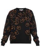 McQ Alexander McQueen Swallow Swarm Embrioideries Sweater - Darkest Black