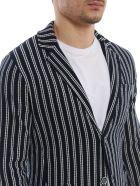 Luigi Bianchi Mantova Knitted Striped Jersey Blazer - Blue/white