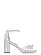 Stuart Weitzman Sutton Metallic Leather Sandals - silver
