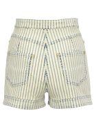 Balmain High Waist Shorts - BLUE WHITE STRIPES
