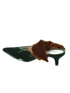 GIA COUTURE Velvet Mules With Hell - Dark Green