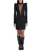 Balmain Dress With Tulle Swiss Dot Panel - Nero