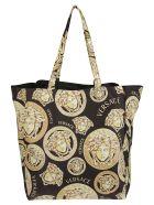 Versace Multi Medusa Logo Print Tote - Black/Gold