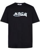 MSGM Logo Print Cotton T-shirt - Nero