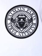 Balmain Medallion Flocked Logo T-shirt - BIANCO