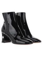 Miu Miu Patent Leather Embellished Boots - BLACK
