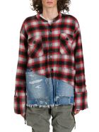 Greg Lauren 50/50 Plaid/denim Boxy Studio Shirt - Rosso