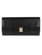 Salvatore Ferragamo Black Leather Vara Bow Wallet - Black