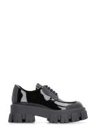 Prada Patent Leather Lace-up Derby Shoes - black
