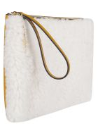Marni White And Orange Fur And Leather Pouch - WHITE BEIGE