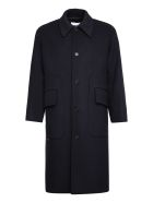 MSGM Single-breasted Long Coat - blue