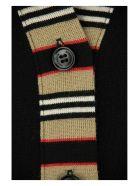 Burberry Cauca - Icon Stripe Detail Merino Wool Cardigan - Black