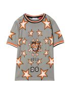 Dolce & Gabbana Grey T-shirt With Tiger And Star Press Dolce&gabbana Kids - Grigio