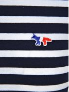 Maison Kitsuné Maison Kitsune Maison Kitsuné Tricolor Fox Patch Striped T-shirt - NAVY WHITE