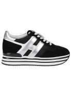 Hogan Black Leather H222 Sneakers - BLACK SILVER